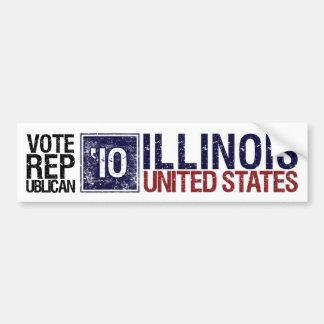 Vote Republican in 2010 – Vintage Illinois Bumper Sticker