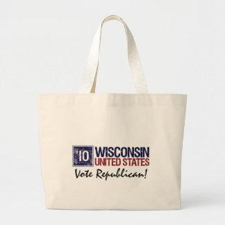 Vote Republican in 2010 – Vintage Wisconsin Large Tote Bag
