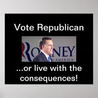 Vote Republican Romney Poster