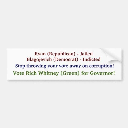 Vote Rich Whitney for IL Governor! Car Bumper Sticker