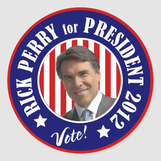 Vote Rick Perry for President 2012 Classic Round Sticker