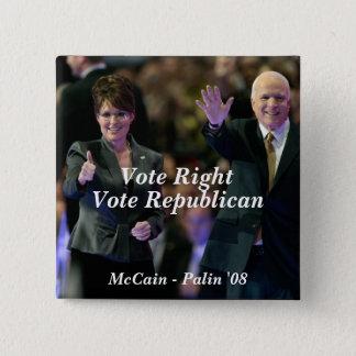 Vote Right, Vote Republican, McCain - ... Button