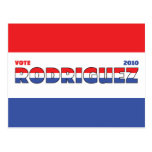 Vote Rodriguez 2010 Elections Red White and Blue Postcard