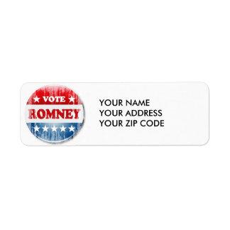 VOTE ROMNEY RETURN ADDRESS LABEL