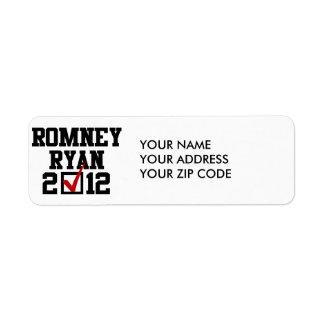 VOTE ROMNEY RYAN 2012 RETURN ADDRESS LABEL