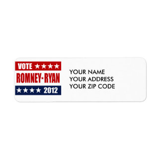 VOTE ROMNEY RYAN 2012 SIGN RETURN ADDRESS LABEL