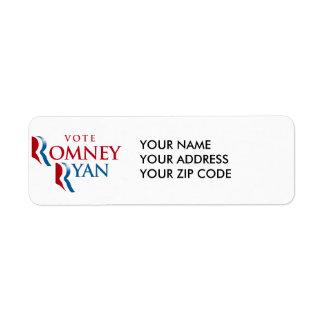 VOTE ROMNEY RYAN AMERICA CUSTOM RETURN ADDRESS LABEL