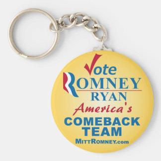 Vote Romney Ryan - Anti Obama Basic Round Button Keychain
