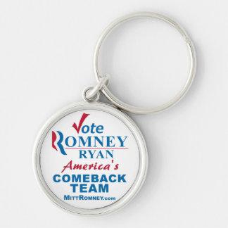 Vote Romney Ryan - Anti Obama Silver-Colored Round Keychain