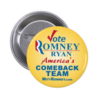 Vote Romney Ryan Pinback Button