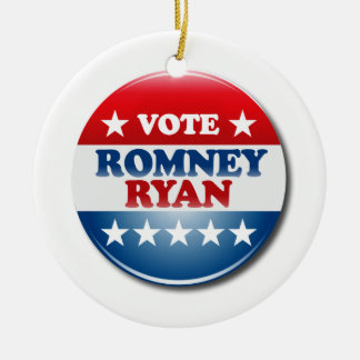 VOTE ROMNEY RYAN VP ROUND.png Double-Sided Ceramic Round Christmas Ornament