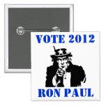 VOTE RON PAUL 2012 2 INCH SQUARE BUTTON