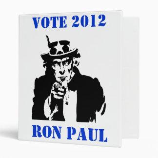 VOTE RON PAUL 2012 VINYL BINDER