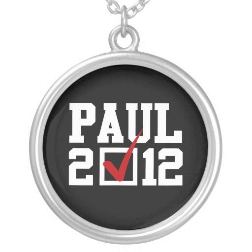 VOTE RON PAUL 2012 (white) Personalized Necklace