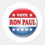VOTE RON PAUL ROUND STICKERS