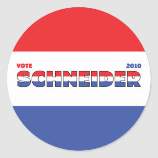 Vote Schneider 2010 Elections Red White and Blue Classic Round Sticker