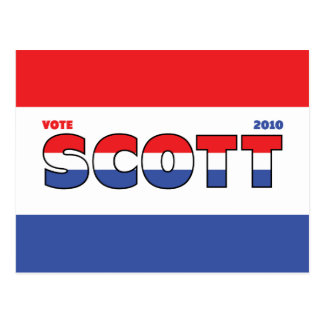 Vote Scott 2010 Elections Red White and Blue Postcard