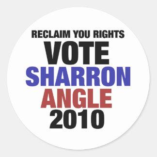 Vote Sharon Angle for US Senate 2010 Classic Round Sticker