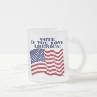 ¡VOTE SI USTED AMA AMÉRICA! TAZA DE CAFÉ ESMERILADA