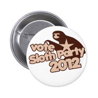 Vote Sloth Party 2012 2 Inch Round Button