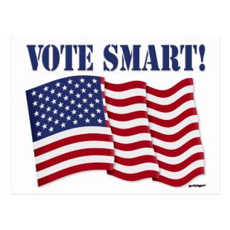 VOTE SMART! with US Flag Postcard