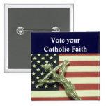 Vote su botón católico de la fe pin
