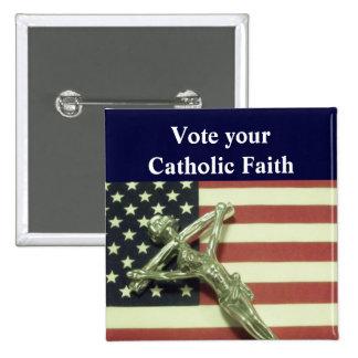 Vote su botón católico de la fe pin cuadrado