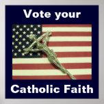 Vote su poster católico de la fe