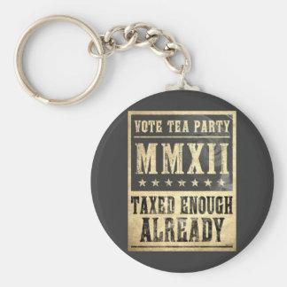 Vote Tea Party Basic Round Button Keychain