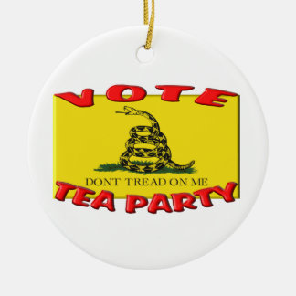 VOTE TEA PARTY (Don't Tread On Me Flag) Double-Sided Ceramic Round Christmas Ornament