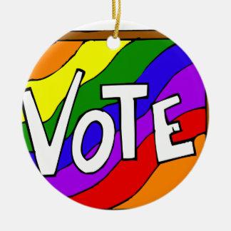 Vote the rainbow christmas ornament