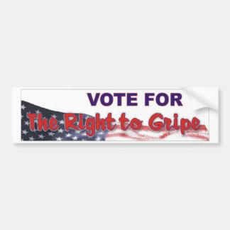 vote to gripe with flag car bumper sticker