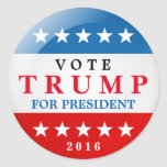 Vote Trump for President 2016 American Election Classic Round Sticker