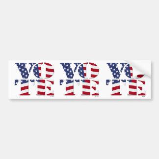"VOTE ""V O T E"" with US FLAG Car Bumper Sticker"
