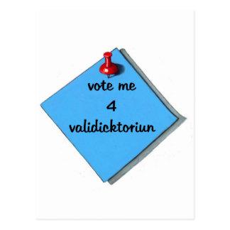 VOTE VALEDICTORIAN (MISSPELLED) POSTCARD