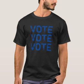 VOTE VOTE VOTE Blue Distressed Print T-Shirt