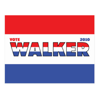 Vote Walker 2010 Elections Red White and Blue Postcard