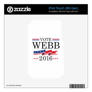Vote Webb 2016 iPod Touch 4G Decals