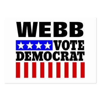 Vote Webb Democrat  for President Large Business Card