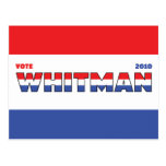 Vote Whitman 2010 Elections Red White and Blue Postcard