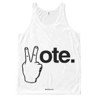 VOTE WITH YOUR FINGERS Politiclothes Humor -.png All-Over Print Tank Top