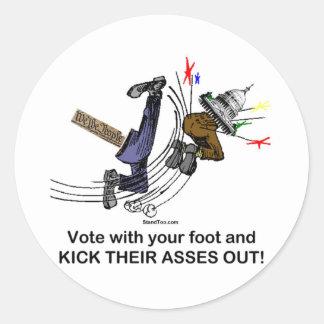 Vote With Your Foot - Round Sticker