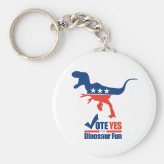 Vote Yes For Dinosaur Fun Basic Round Button Keychain