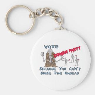 VOTE ZOMBIE PARTY KEYCHAIN