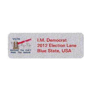 VOTE ZOMBIE PARTY RETURN ADDRESS LABEL