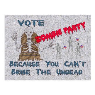 VOTE ZOMBIE PARTY POSTCARD