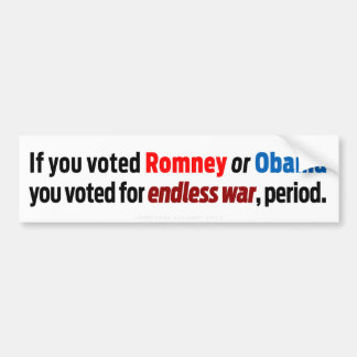 Voted for Endless War Bumper Sticker