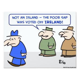 "voted off ireland island 4.25"" x 5.5"" invitation card"