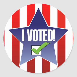 Voting Day! I Voted! Classic Round Sticker