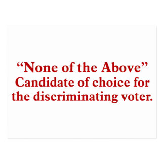 Voting for none of the above 2 postcard